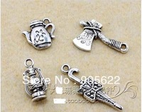 DIY  classic Jewelry Findings WITH  4SHAPE ,classic silver.100 PCS/LOT (with each shape 25 PCS),Free shipping .
