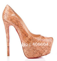 high heel shoes 2012 cork pumps leather pumps red sole shoes 16CM heel platform pump women daily dres shoes