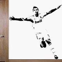 Free Shipping  Home Decor Wall stickers  1110mm*1180mm PVC Vinyl Removable Art Mural Home decor Football Cristiano Ronaldo C-52