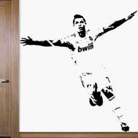 Free Shipping  Home Decor Wall stickers  1110mm*1180mm PVC Vinyl Removable Art Mural Home decor Football Cristiano Ronaldo C-52