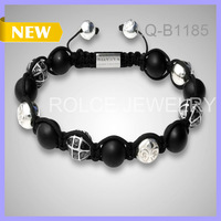 Free Shipping Trendy 10pcs/lot 10MM Silver Rosary Black Lava Agate Beads No Logo Braided Bracelet