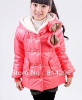 Free   shipping   Female children's wear new winter of double breasted bowknot temperament cotton-padded clothes coat