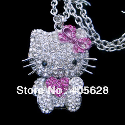 Fashion crystal Hello Kitty necklace, cute style(China (Mainland))