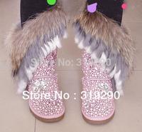 Fashion Pink Rhinestone Pearl Snow Boots Women Hand Made Fur Flats Wedding Dress Shoes