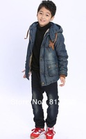 Free   shipping    The boy qiu dong outfit new color matching fashion leisure cotton-padded clothes to keep warm
