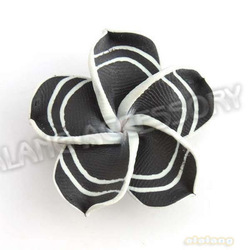 Wholesale Price Black Color 2.3g 60pcs/lot Plumeria Rubra Beads Polymer Clay Beads Fit European Bracelet Making 112001(China (Mainland))
