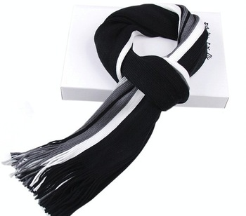 2014 Men Scarves Knitted Hot Sale Fashion Warm Winter Men Scarf Black+White+Grey Long Scarf Shawl