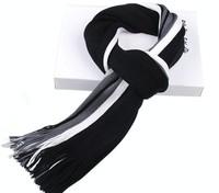 2014 Men Scarves Knitted Hot Sale Fashion Warm Winter Men Scarf Black+White+Grey Long Scarf Shawl