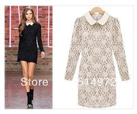 Best Selling!!Fashion women's vintage color lapel  dresses ladies lace long sleeve Slim dress+ free shipping