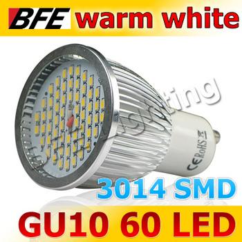 Holiday Sale 4pcs/Lot 60 LED 3014 SMD GU10 8W Warm White Spot Light Bulbs High Power Drop Ship