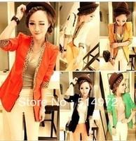 Best Selling !!2012 Women V-NECK 1 Button Leopard Print  Blazer women jackets+Free Shipping