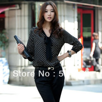 Best Selling!!Sexy Women's OL Blouse New Vintage Chiffon Polka Dots Top Shirt +free shipping 1 Piece