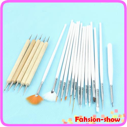 20 pz nail art disegno pittura penna che punteggiano spazzole kit set