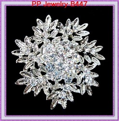 Free shipping clear crystal alloy snowflake brooch silver tone 6pcs/lot(China (Mainland))