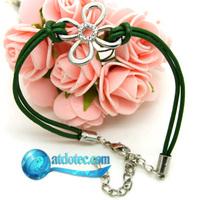 Min Order 12$ Fashion Jewelry Vintage Clover Rhinestone Leather Fine Bracelet Grace Bangle SL0145