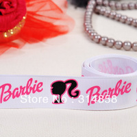 "Free shipping 7/8"" barbie girl Grosgrain ribbon, ribbon hair bow print ribbon  50yards fabric tape"
