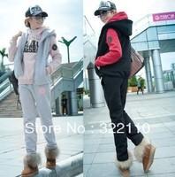 Korea style Women suit Casual clothes 3 piece suit Sport set Jacket Sweatshirt Pant High quality leisure Costume