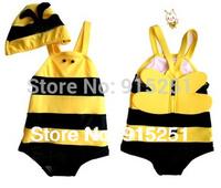 Free shipping neutral baby swimwear,Baby girls boys Cute bee piece swimsuit ,Baby swimming suit,Kids beach wear