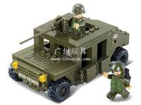 Building Block Set SlubanB0297Army-hummer car Model Enlighten Construction Brick Toy Educational Toy for Children