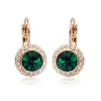 18K Real Gold Plated Stellux Austrian Green Crystals Leverback Earrings FREE SHIPPING! Code:1770895