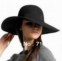 wholesale ladies fashion black wide brim felt hats with brim 10CM-12CM-14CM  and good quality and large brim fedora