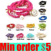 (Min order $5,can mix) Multilayer Braid Bracelets Candy  Wristbands Leather Bracelets Knit Charm Bracelets