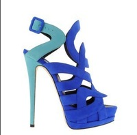 Женские сандалии 2012 rivet shoes leather sandals rhinestone wedding high-heel sandals evening party shoes
