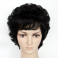 Free shipping Real human hair quinquagenarian women's real hair wig roll fashion noble elegant