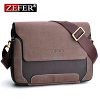Zefer canvasman casual messenger bag / fabric pu men's shoulder bag  AZ019
