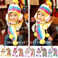 Rabbit baby hat scarf double layer thickening yarn child hat scarf set