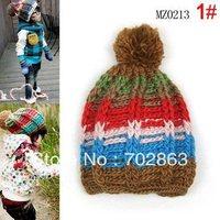 Autumn winter child hat multicolour male child female all-match coarse baby hat