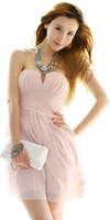 New women's girl's Cute Sexy Pink Strapless Cocktail And Party Dresses Fashion Chiffon Club  Races Mini Dress For Women