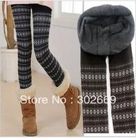 2339 Large size women's Leggings snow pattern thicken warm elastic  tight pants 5pcs/lot  free shipping