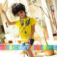 Boy's Short Sleeve Shirt, Fake Headphone Print Cool Top, Fantastic DJ Look, Breathable Fabric T-Shirt, Free Shipping K0122