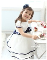 free shipping wholesale girls summer dresses 2013 new arrial kids Children&#39;s clothing    blue       white wedding party dresses