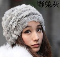 2013 Winter Women Cute Cap Natural Handwork Braided Rabbit Fur Hat Wool Knitted Hats Free Shipping