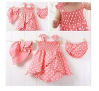 baby girl 3pcs set with  hat  dress children clothing set  dresses set nice design baby dress