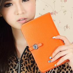 Luxury wallet women&#39;s 2013 passport holder cow leather clutch genuine leather medium-long purse(China (Mainland))
