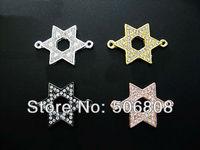40PCS Sideways Crystal Rhinestones Star of David Metal Bracelet Connector Charm Beads /Pendants Jewelry Findings Free Shipping