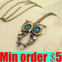 Vintage Owl Necklace Rhinestone Owl Long Sweater Chain Retro Animal Necklace Free Shipping B157