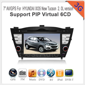 "car radio gps For Hyundai IX3 New Tucson 2.0L version 3G DVD with 7""Touch screen 3G 6 disc memory, 3D GPS, iPod TV BT Radio USB"