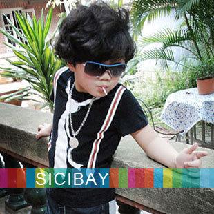 New Designer! Boy's Short Sleeve Shirt, Fake Suspender&Tie Print Cool Top, Breathable Fabric T-Shirt, Free Shipping K0121