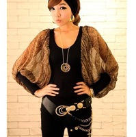 free shipping korean style fashion women leopard snake long lantern sleeve chiffon t-shirt evening party t-shirt