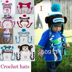Baby Boy Sock Monkey Crochet Hat Pattern monkey hat Toddler Crochet Hat Newborn winter knitted hats 10pcs H160(China (Mainland))