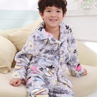 Bamboo flannel coral fleece child sleep set big boy plus size male child boy thickening lounge 93553