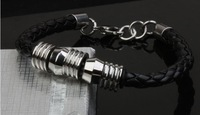 weave stainless steel unisex bracelet leather bangle fashion cuff  fashion jewelry