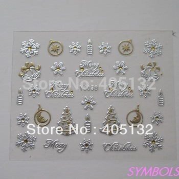 Free Shipping 20sheets/lot Mixed YJ Series Gold&Silver Christmas   Cute Sticker Nail Art Sticker