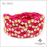 Fuschia Vintage Ribbon on Gold Rhinestone Wrap Tennis Bracelet 12 pcs/lot-free shipping