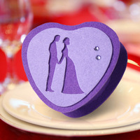 Purple Heart Shape Felt Box With Lover DIY wedding
