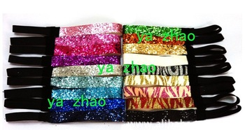 2013  New hot sale mix color 3 4'' fashion Glitter headbands for girl softball headbands 500pcs lot
